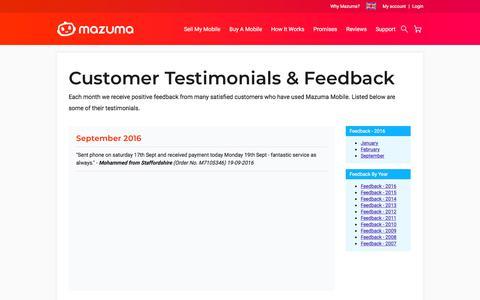 Screenshot of Testimonials Page mazumamobile.com - Customer Testimonials & Feedback | Mazuma Mobile - captured Sept. 20, 2018
