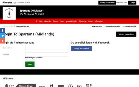 Screenshot of Login Page pitchero.com - Spartans (Midlands) - captured March 1, 2017