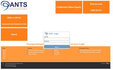Screenshot of Login Page neurotreatment.com.au - Login: Advanced Neuropsychological Treatment Services (ANTS) - captured March 7, 2016