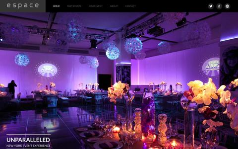 Screenshot of Home Page espaceny.com - e s p a c e | NYC Event Venues  | New York, NY event space for weddings bar mitzvah corporate and social events, fashion, product launch, fundraisers - captured Oct. 2, 2014