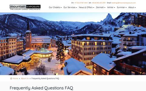 Screenshot of FAQ Page mountainexposure.com - FAQ - Mountain Exposure - The Luxury Chalet Specialists - captured Nov. 11, 2018
