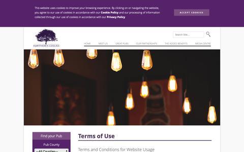 Screenshot of Terms Page hawthornleisure.com captured Sept. 27, 2018
