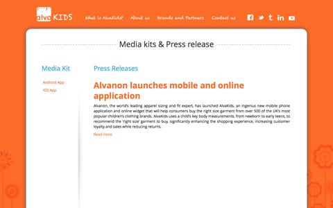 Screenshot of Press Page alvakids.com - Press kits and releases - captured Sept. 30, 2014