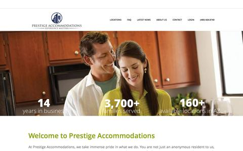 Screenshot of About Page Locations Page prestigearizona.com - Phoenix Corporate Housing Rentals | Arizona Vacation Rentals - captured Nov. 2, 2014