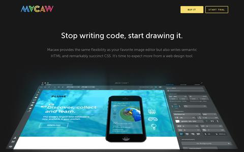 Screenshot of Home Page macaw.co - Macaw: The Code-Savvy Web Design Tool - captured July 11, 2014