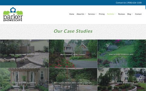 Screenshot of Case Studies Page parkerhomescape.com - Landscape Design Company | Somerset, Hunterdon & Union County NJ - captured Sept. 26, 2018