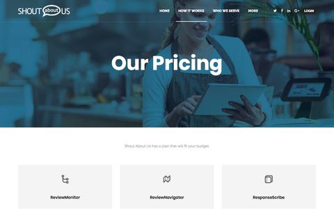 Screenshot of Pricing Page shoutaboutus.com - Monitor Review Sites with Shout About Us: Plans and Pricing - captured July 13, 2018