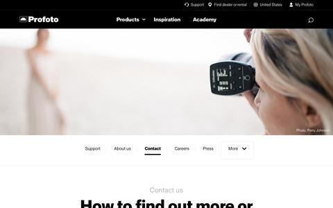 Screenshot of Contact Page profoto.com - Contact - captured July 23, 2018