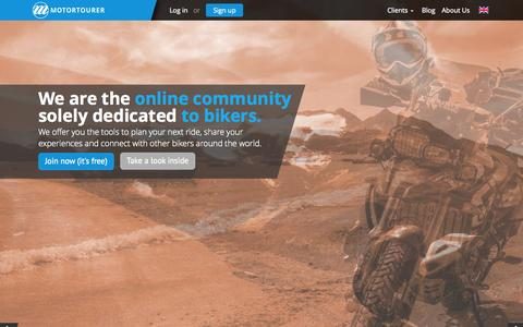 Screenshot of Home Page motortourer.com - Motortourer • Ride – Share – Connect - captured Aug. 15, 2015