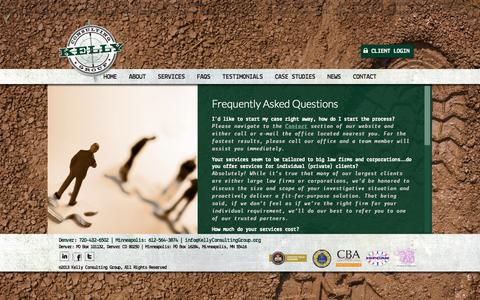 Screenshot of FAQ Page kellyconsultinggroup.org - FAQs   KCG   Corporate & Private Investigations   - captured Oct. 6, 2014