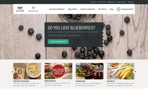 Screenshot of Home Page lundsandbyerlys.com - Lunds and Byerly's - captured Jan. 22, 2015