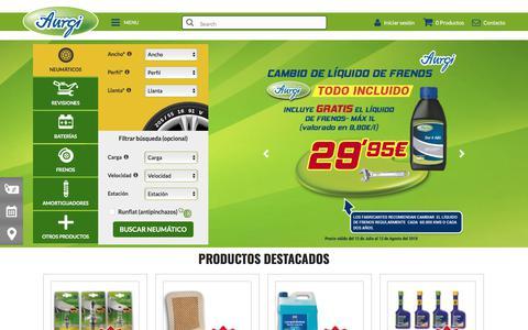 Screenshot of Home Page aurgi.com - Neumáticos baratos, baterías y revisión de tu coche - Aurgi  - - captured July 31, 2018