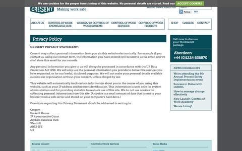 Screenshot of Privacy Page cresent.co.uk - Cresent - Privacy Policy | About Us - captured Sept. 30, 2014