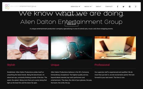 Screenshot of Home Page allendalton.com - Allen Dalton Entertainment Group - Events, Party Planning - captured Jan. 2, 2017