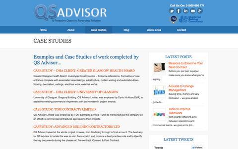 Screenshot of Case Studies Page qsadvisor.com - Case Studies - captured Nov. 1, 2014