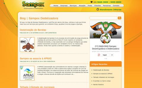 Screenshot of Blog sampexpragas.com.br - Blog | Sampex Dedetizadora - captured Oct. 4, 2014