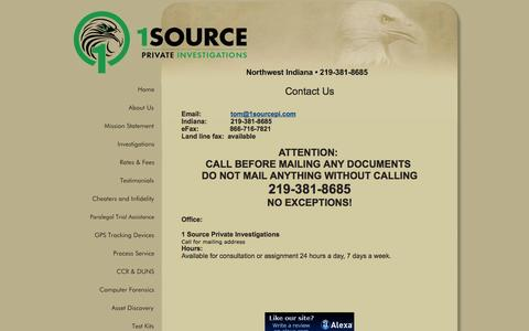 Screenshot of Contact Page 1sourcepi.com - Northwest Indiana • 219-381-8685  - Contact Us - Griffith, IN - captured Oct. 7, 2014