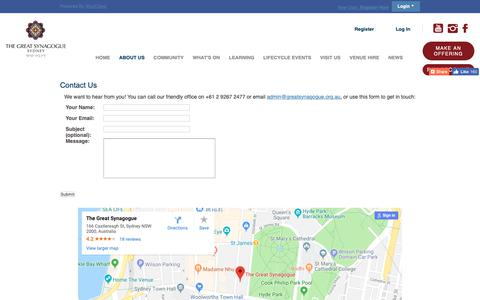Screenshot of Contact Page greatsynagogue.org.au - Contact Us - The Great Synagogue - captured Oct. 20, 2018