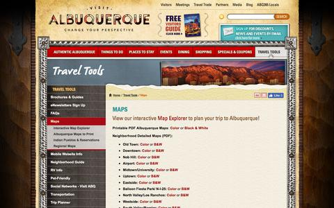 Screenshot of Maps & Directions Page visitalbuquerque.org - Map of Albuquerque - Albuquerque area maps - Albuquerque maps - captured July 1, 2017