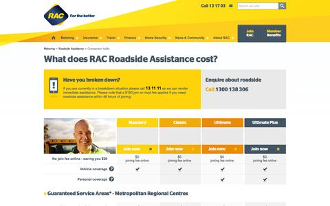 Screenshot of Pricing Page rac.com.au - RAC Roadside Assistance pricing comparison table | RAC WA - captured Oct. 27, 2014
