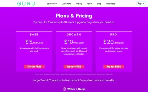 Screenshot of Pricing Page getguru.com - Pricing for our Sales Enablement and Knowledge Management Solutions - Guru - captured Nov. 15, 2016