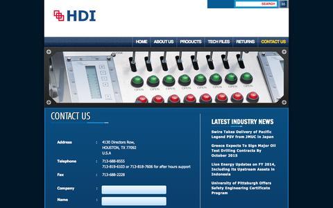 Screenshot of Contact Page hdigauges.com - HDI | CONTACT US - captured Oct. 1, 2014