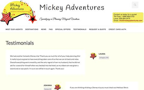 Screenshot of Testimonials Page mickeyadventures.com - Testimonials | Mickey Adventures - captured Sept. 20, 2018
