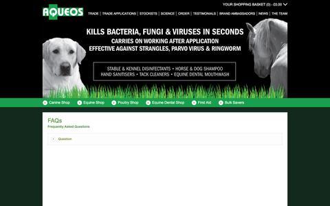 Screenshot of FAQ Page aqueos.co.uk - FAQs - captured Feb. 6, 2016