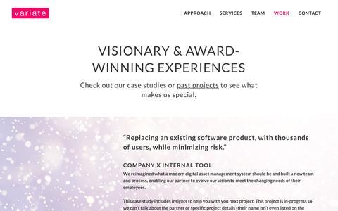 Screenshot of Case Studies Page variatelabs.com - Variate Innovation | Work - captured Jan. 10, 2016
