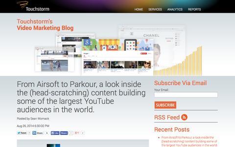 Screenshot of Blog touchstorm.com - Touchstorm Video Marketing Blog - captured Sept. 17, 2014