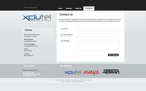 Screenshot of Contact Page xfsleasing.com - Contact Us | Xclutel Finanical - captured Oct. 4, 2014