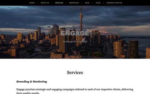 Screenshot of Services Page engage-inc.ca - Services | ENGAGE - captured Oct. 2, 2014