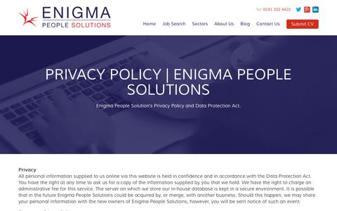 Screenshot of Privacy Page enigmapeople.com - Privacy Policy - Enigma People Solutions - captured Jan. 29, 2016
