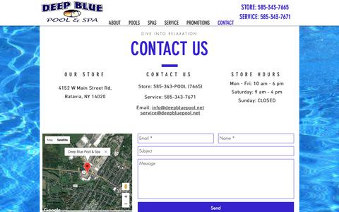 Screenshot of Contact Page deepbluepoolandspa.com - Call the Pool Guys | Batavia, NY | Deep Blue Pool & Spa - captured Nov. 6, 2018