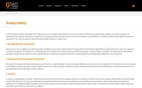 Screenshot of Privacy Page g-rig.com - Privacy Policy - G-RIG Solid State Gimbals - captured Oct. 1, 2014