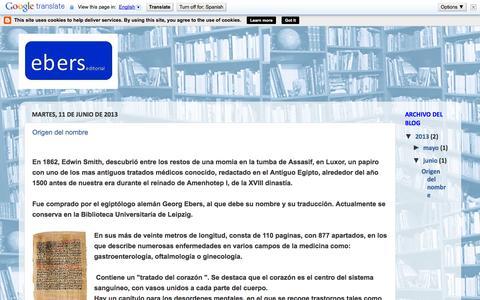 Screenshot of Home Page eberseditorial.blogspot.com.es - ebers - captured Oct. 3, 2014