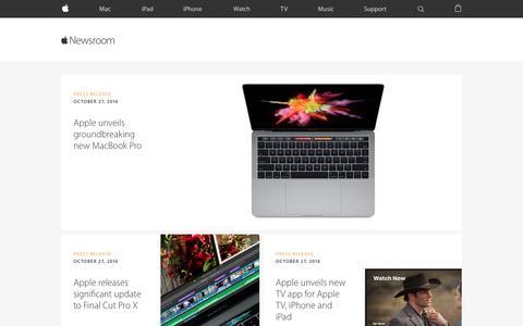 Screenshot of Press Page apple.com - Newsroom - Apple - captured Nov. 3, 2016