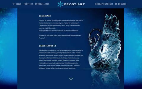 Screenshot of Home Page frostiart.fi - FROSTIART jääveistokset & hiekkaveistokset - ice sculptures & sand sculptures - captured Dec. 19, 2018