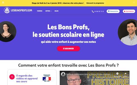 Screenshot of Home Page lesbonsprofs.com - Lesbonsprofs.com: le soutien scolaire en ligne et en vidéo pour votre ado - captured Dec. 8, 2018