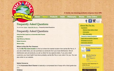 Screenshot of FAQ Page bio-pac.com - Frequently Asked Questions - Bio Pac Cleaning Products - captured Oct. 5, 2014