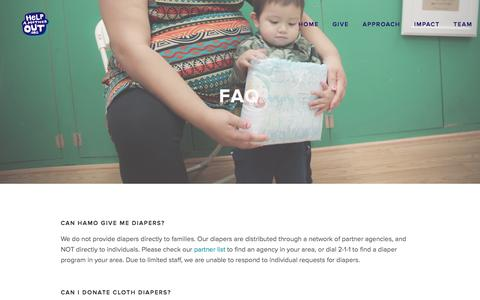 Screenshot of FAQ Page helpamotherout.org - FAQ Ń Help a Mother Out - captured Dec. 9, 2015