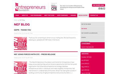 Screenshot of Blog newentrepreneursfoundation.com - NEF Blog - New Entrepreneurs Foundation - captured Oct. 20, 2018