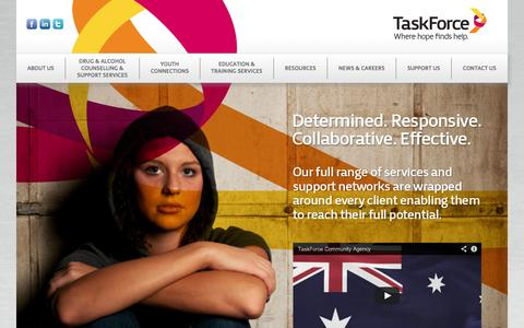 Screenshot of Home Page taskforce.org.au - TaskForce Community Agency - Home - captured Oct. 6, 2014