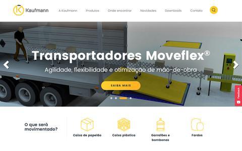 Screenshot of Home Page kaufmann.com.br - Kaufmann - Soluções para movimentação - captured Oct. 14, 2018