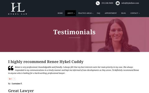 Screenshot of Testimonials Page hykellaw.com - Blog | - captured Dec. 6, 2015