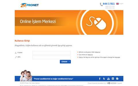Screenshot of Login Page pronet.com.tr - Pronet Online Ä°ÅŸlem Merkezine HoÅŸgeldiniz - captured Sept. 6, 2016