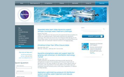 Screenshot of Press Page aquionics.com - Aquionics – UV That Works! » News - captured Nov. 12, 2018