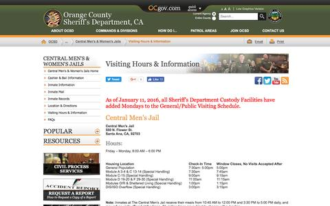 Screenshot of Hours Page ocsd.org - Orange County, California - Visiting Hours & Information - captured Nov. 30, 2016