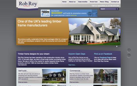 Screenshot of Home Page robroyhomes.co.uk - Specialists in the design, manufacture and supply of timber frame buildings - captured Oct. 6, 2014