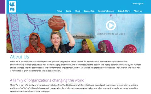 Screenshot of About Page metowe.com - About Us - Me to We - captured Oct. 27, 2014